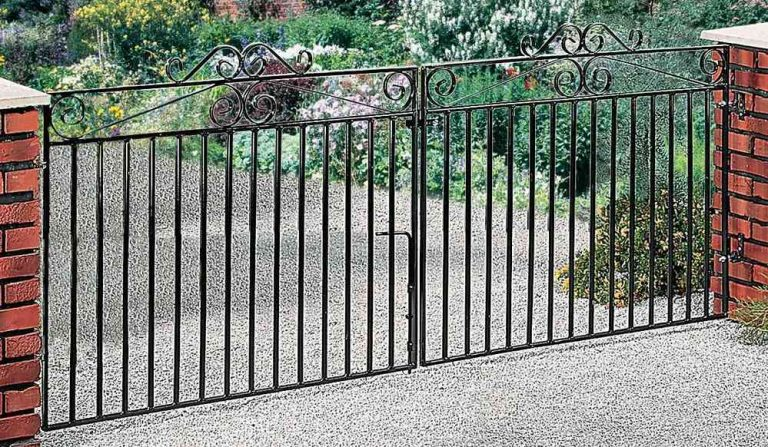 A small metal driveway gate